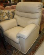 A modern G-Plan cream leather upholstere