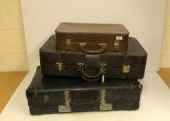 A Victor Luggage leather suitcase, a vin