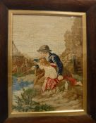 A 19th Century needlework tapestry panel