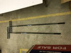 Two Pro User tarmac rakes with steel han