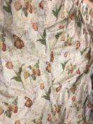 A pair of cotton type bold ground floral decorated lined curtains with fixed triple pencil pleat
