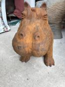 A large modern cast iron figure of a Hippo,