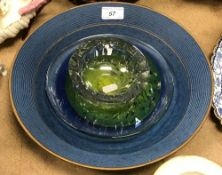 A blue soda glazed and gilt decorated dish by Gary Wornell Brown together with a cut glass bowl and