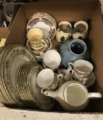 A box containing assorted chinaware to include Ainsley Henley pattern dish plates and side plates,