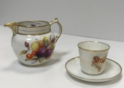 A Worcester-type fruit decorated jug 10 cm high together with a Copenhagen cherub decorated coffee