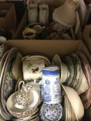 Seven boxes of assorted decorative and household china wares, etc.