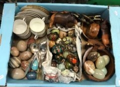 A selection of various hardstone and lacquered decorative eggs,