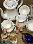 A Royal Albert Memory Lane part tea service, three Goebel figurines, a glass turtle,