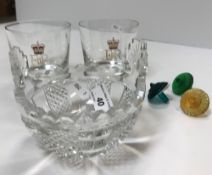 A Waterford pineapple cut and faceted two-handled bowl, signed to base 10 cm high,