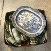 Four boxes of sundry china, glass and ornamental wares to include meat plates,
