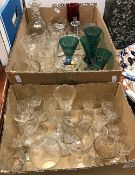 A collection of 19th Century and later glassware to include four Bristol green slab cut wine