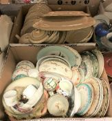 Four boxes of assorted decorative china wares to include Alfred Meakin part dinner service and a