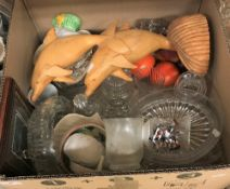 Three boxes of assorted glassware to include a trifle bowl,
