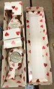 A boxed pair of Emma Bridgwater votive holders as lovebirds with Valentine heart decoration