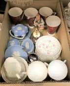Two boxes of assorted decorative china wares to include Tuscan part tea set decorated with pink