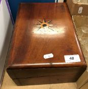 A late Victorian mahogany and inlaid writing slope (parts missing),