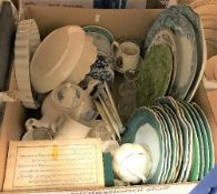 Three boxes of assorted decorative china wares to include Wedgwood Jasperware pin dishes,