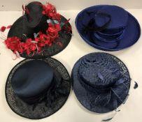 Four ladies dress hats,