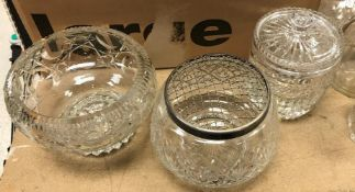A Royal Brierley cut glass biscuit barrel, a Bohemian style cut glass pedestal fruit bowl,