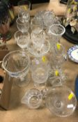 A collection of glassware to include a single facet cut rummer in the George III taste (probably
