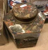 A 19th Century Japanese Meiji period Satsuma hexagonal tea caddy and cover,