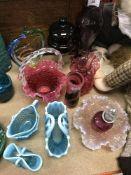 A Langham glass studio glass vase of cylindrical form 15 cm high,