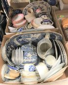 Two boxes of assorted blue and white and 19th Century decorative china wares