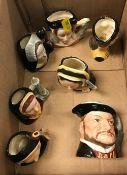 """A Royal Doulton miniature character jug """"Henry VIII"""" (D6648) together with the six wives to match"""
