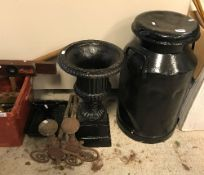 A black painted milk churn, approx 67 cm