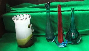 Two Murano Galiano Ferre Sommerso vases with flared bases,
