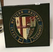 A painted cast metal GWR railway plaque