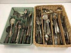 Two trays of assorted plated cutlery