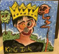 """ADAM CROSLAND """"King Ink"""" oil on board, t"""