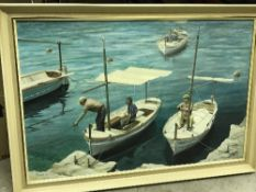 """PAUL BUTLER """"Boats at a quayside"""" oil on"""