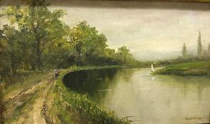 "H LANE WILSON ""River landscape with figu"