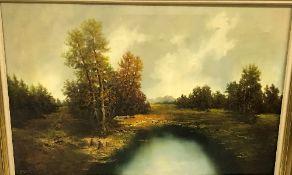 "WILHELM KOENIG ""Autumnal river landscape"