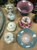 A collection of Mdina and other glasswar