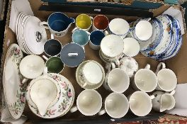 Three boxes of sundry china wares to include Susie Cooper coffee cans, saucers,