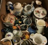 Three boxes of assorted china wares to include hand-painted terracotta plates, etc,