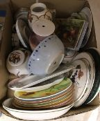 Two boxes of assorted hand-painted china decorated by Ann Smith,
