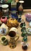 A collection of various studio pottery wares to include an H Branham Barum ware jug with incised