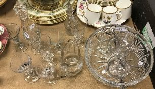 A collection of various 19th Century and other glassware including facet cut baluster shaped jug,