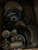 "Two boxes of assorted china and glassware to include Adams ""Old Colonial"" pattern dinner wares,"