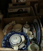 Five boxes of sundry or decorative china wares to include ironstone type serving plate,