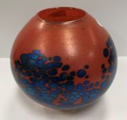 A red and blue mottled vase by Siddy Langley, signed and dated 1998, 16.