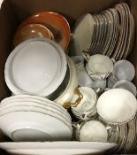 Six boxes of assorted miscellaneous china wares to include jardiniers, vases, tea wares, etc,