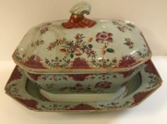 An 18th Century Chinese Qianlong famille-rose tureen and cover with rabbit mask handles, 35 cm x 22.
