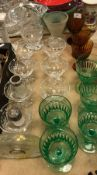 A collection of various glassware to include a Lalique style mistletoe design glass cased mantel