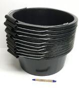 Ten black plastic horse feed buckets wit