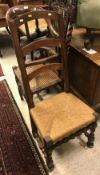 A 17th Century and later walnut ladder back rush seat chair,